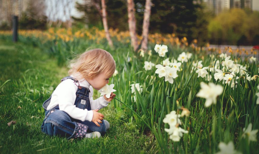 Baby und Blumen